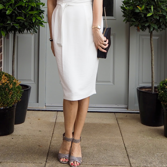 tailored white dress, office wear, corporate wear dress and snake print shoes