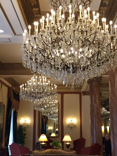 Chandeliers in New Orleans hotel