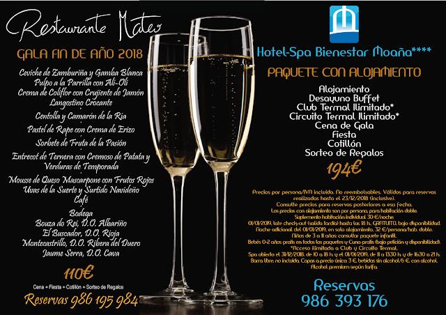 Nochevieja cena de gala en Hotel Spa Bienestar Moaña