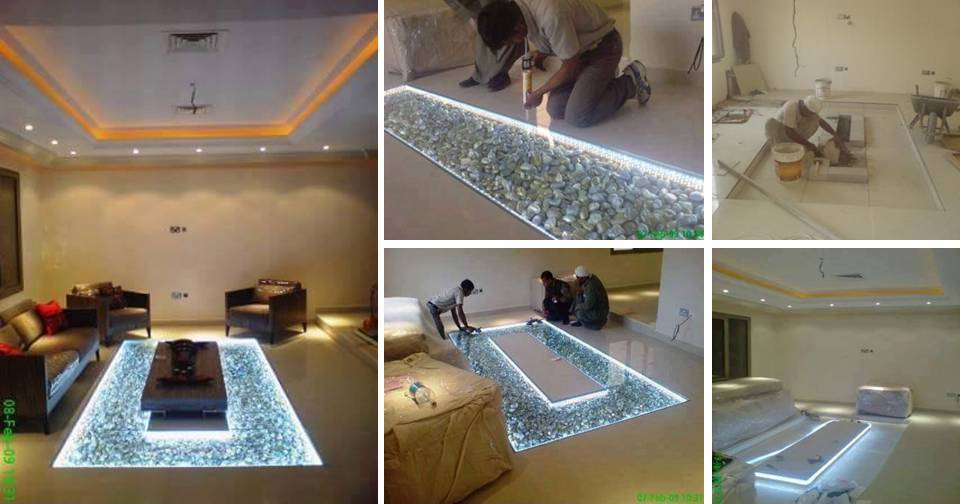 DIY Living Floor Decorating Idea Adding Glass Flooring And Rustic River Pebble That Are Borderline Genius
