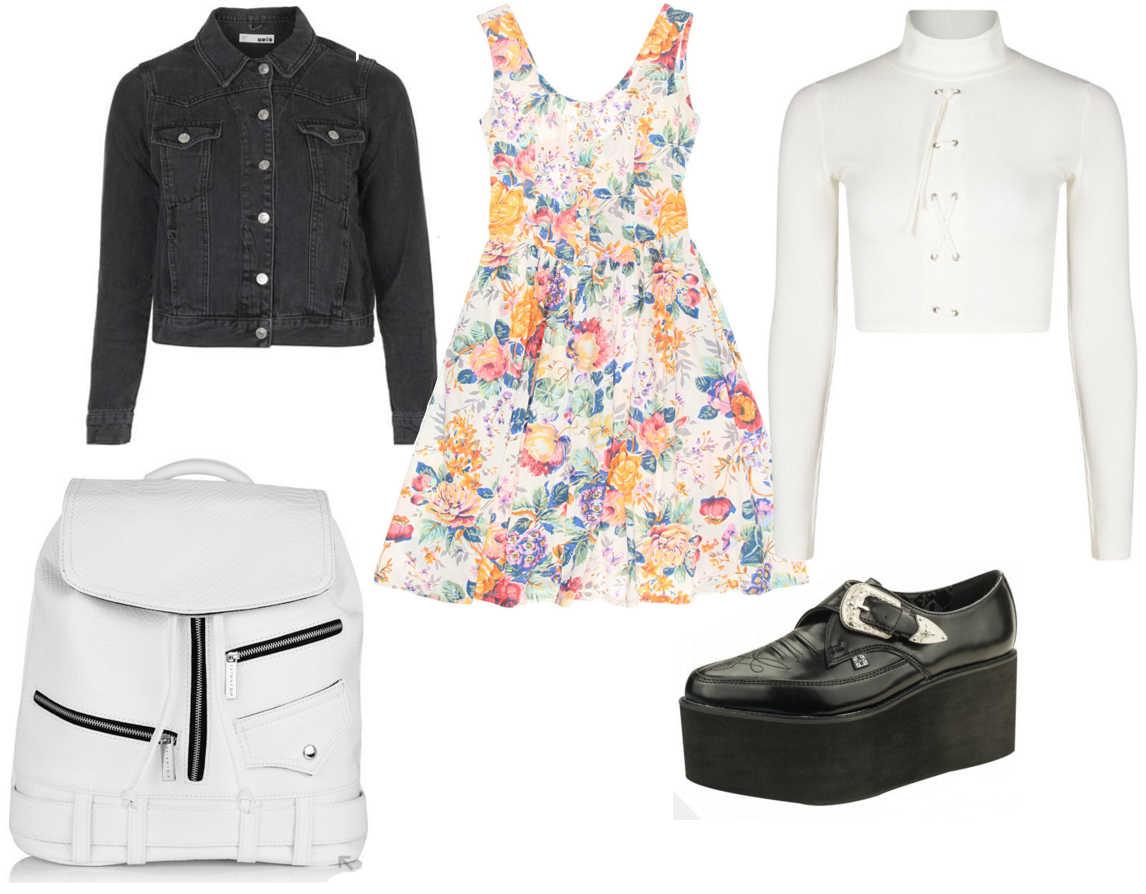 grunge outfit, grunge ootd, grunge fashion style, babydoll dress, vintage grunge outfit, floral dress, black denim jacket, tuk platform shoes, spring outfit 1