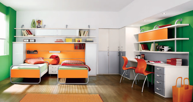 awesome tween bedroom ideas with orange bed completed with green mattress along with office desk