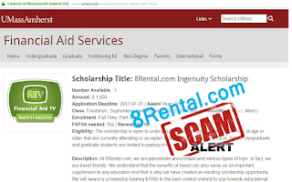 8rental.com fake scholarship scam for American students