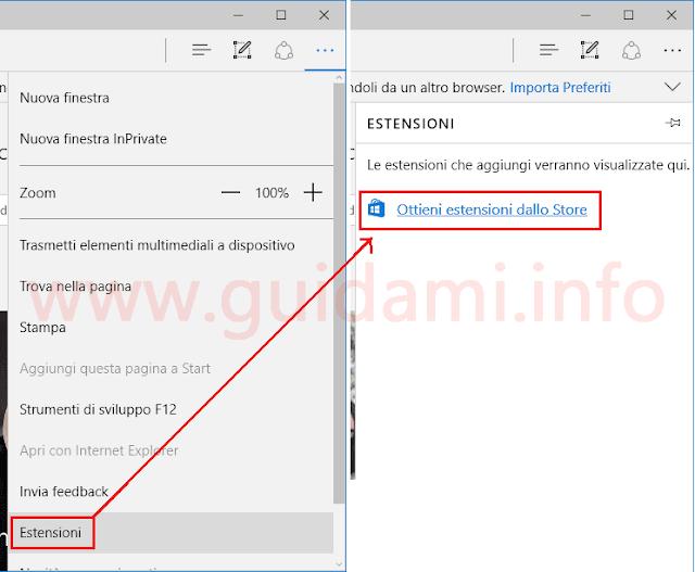Microsoft Edge Ottieni estensioni