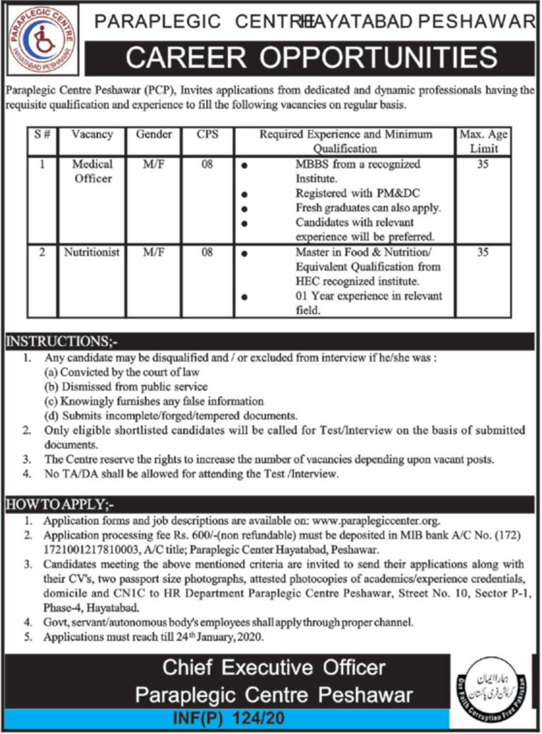 Paraplegic Centre Peshawar KPK Jobs 2020