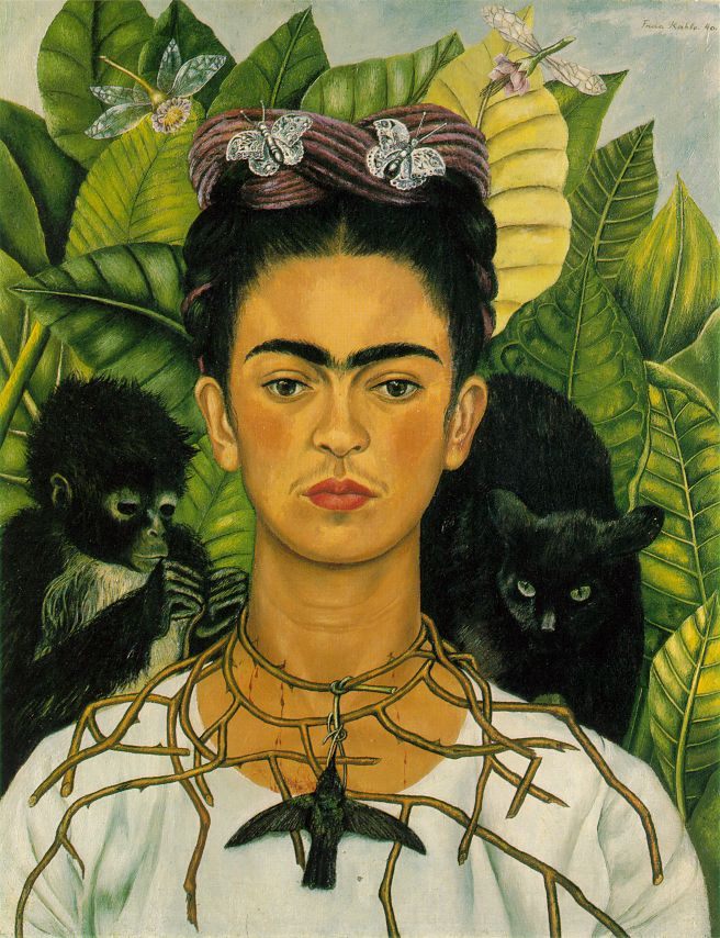 Luscious Wound: Art Throb # 10: Self Portrait with Necklace of Thorns and Hummingbird (1940). by Frida Kahlo
