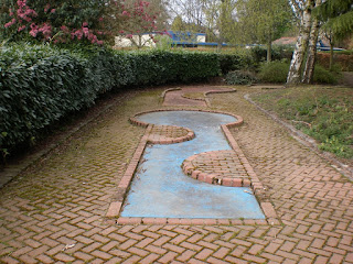 Abandoned Crazy Golf course at South Inch Park in Perth, Scotland