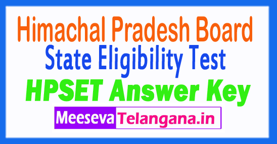 Himachal Pradesh State Eligibility Test HP SET Answer Key 2018 Download