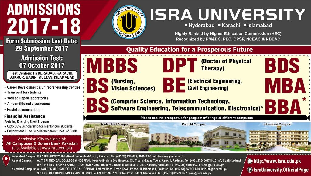 Admissions Open in Isra University Karachi - 2017