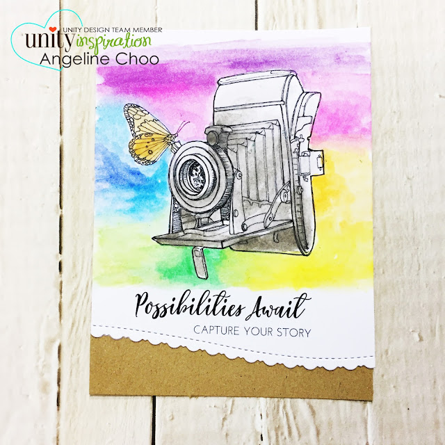 Unity Stamp Company: NEW October Uniquely Unity with Angeline - Possibilities Await  #unitystampco #scrappyscrappy #uniquelyunity #card #cardmaking #papercraft #watercolor #rainbow #stamp #stamping #craft #crafting #katscrappiness #katscrappinessdie #borderdie #diecut