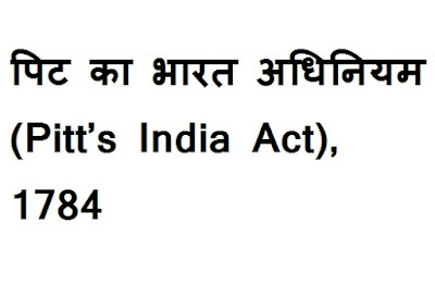 Pitt's India Act, 1784 in Hindi
