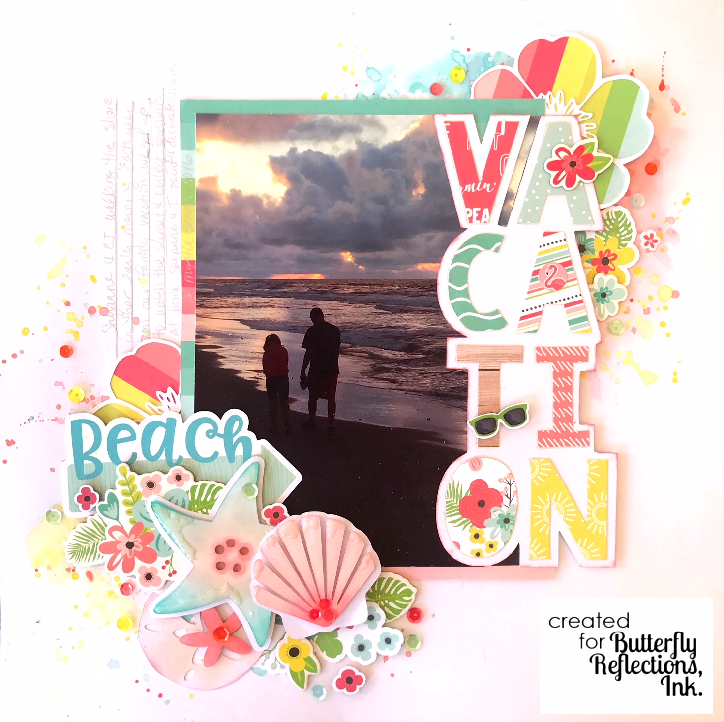 Butterfly Reflections Ink Vacation Scrapbook Layout Simple