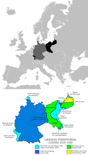 Germany's territorial extension from the onset of WWI to the end of WWII