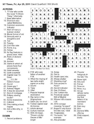 The New York Times Crossword in Gothic: 04.29.11 — Friday