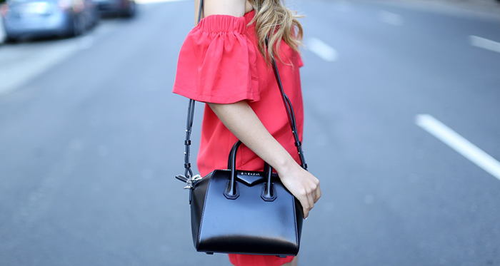 shein off shoulder dress, givenchy antigen bag, how to get designer bags and shoes on sale, gentle monster  vanilla road sunglasses, valentino rock studs heels, san francisco street style