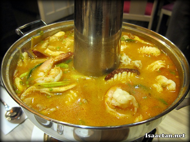 Signature Fire Pot with Seafood Tom Yam