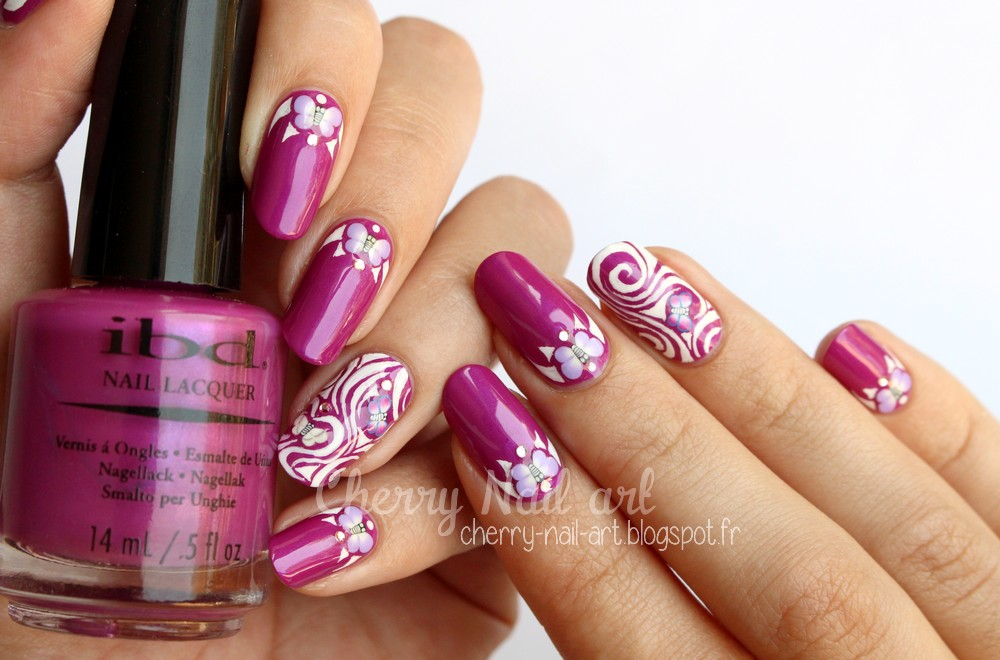 nail art papillon fimo et accent nail abstrait
