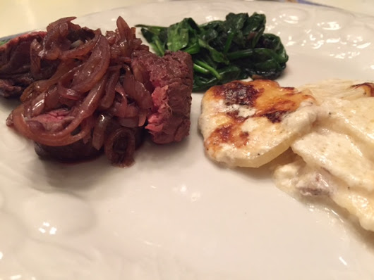 Christmas Cooking Day 4: Hanger Steak with Shallots