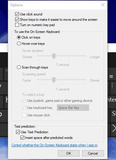 Chỉnh sửa tùy chọn bàn phím ảo trên wndows