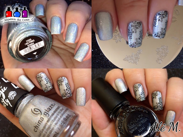 Konad, coletivo, carimbado, M84, Flowers, China Glaze
