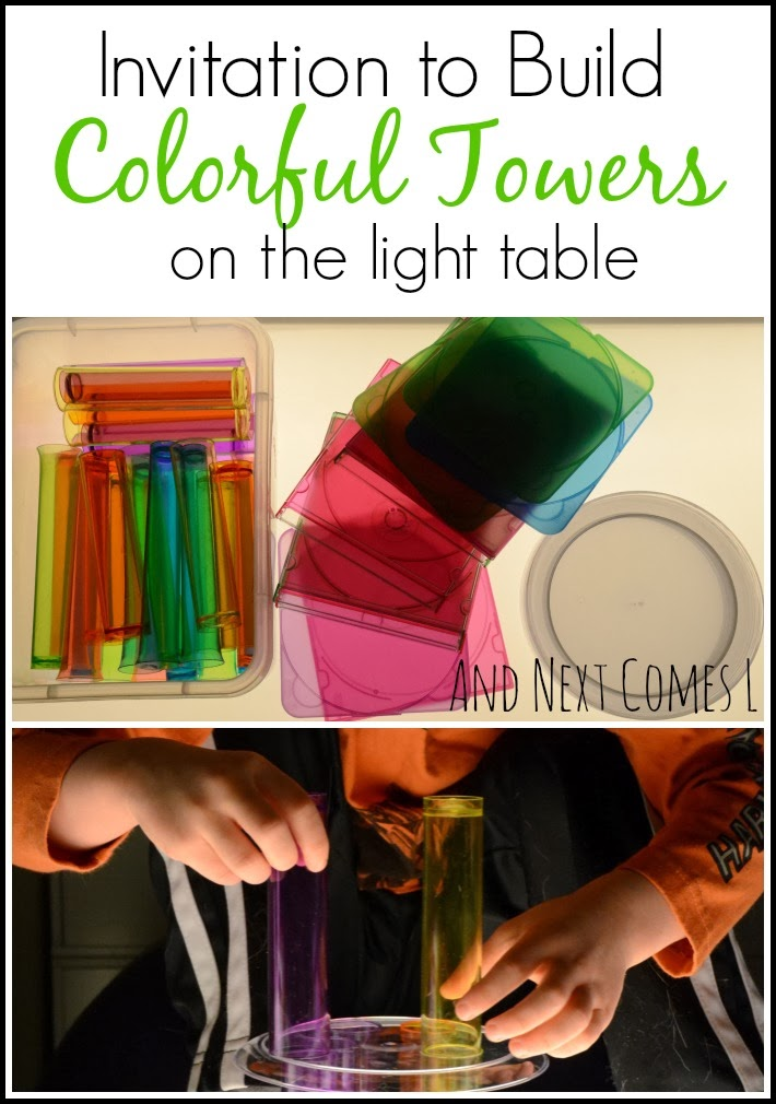 Invitation to build colorful towers with loose parts on the light table from And Next Comes L