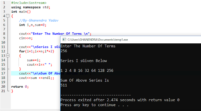 C++ Program To Find Sum Of Series 1+2+4+8+16+32+. . . N
