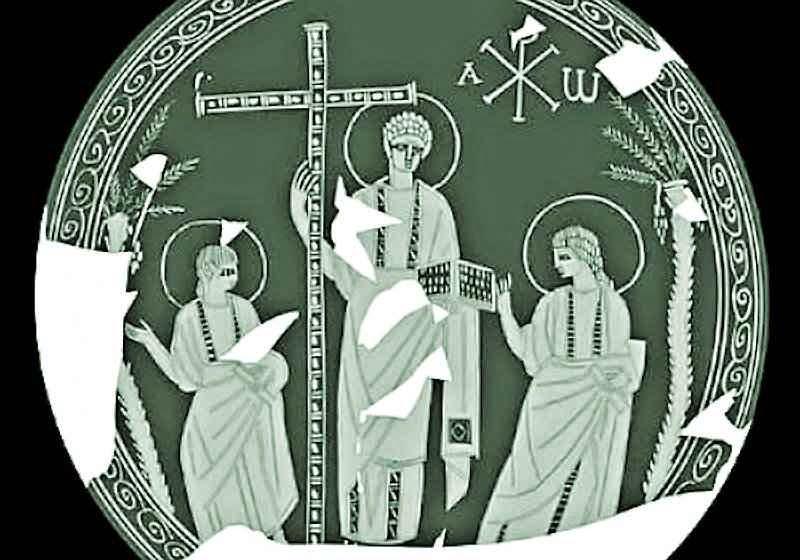 Reconstituição da imagem. Cristo em majestade no centro com a Cruz e os Evangelhos. São Pedro e São Paulo aos lados recebendo a missão de pregar.