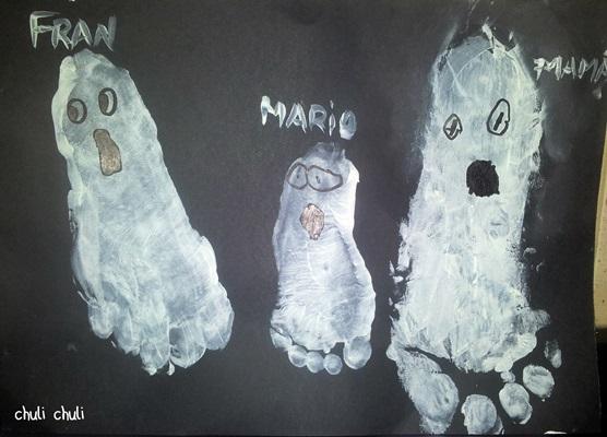 uhhh que miedo, fantasma con pintura de pies