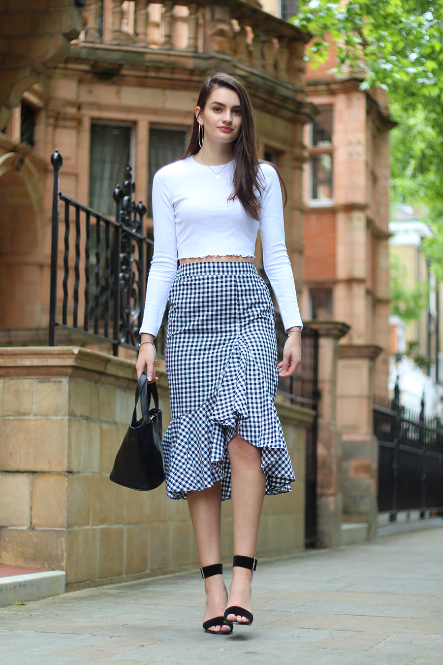 monochrome gingham skirt