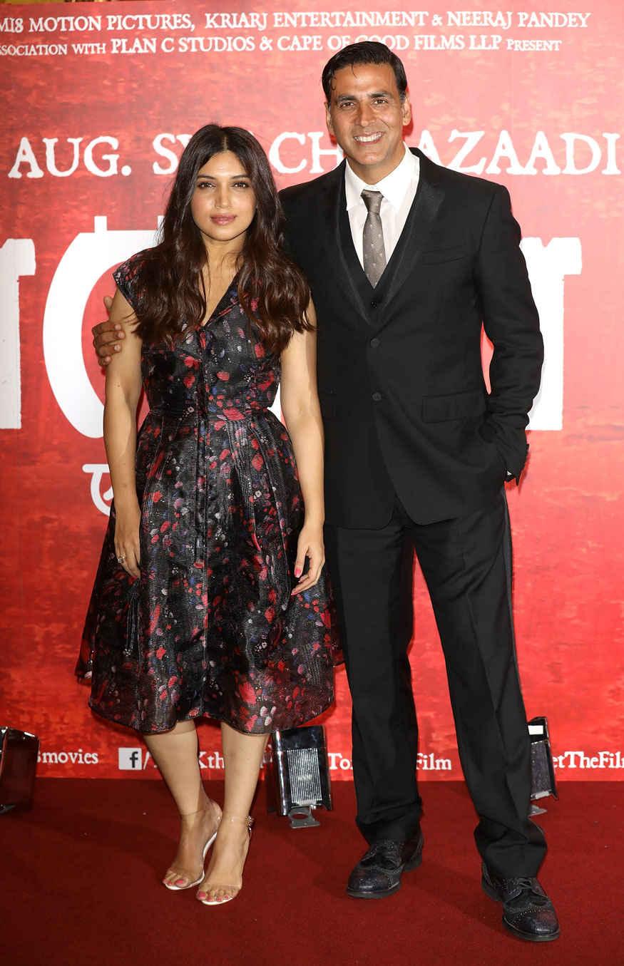 Bhumi Pednekar and Akshay Kumar attending the Toilet: Ek Prem Katha at The Bentley Hotel