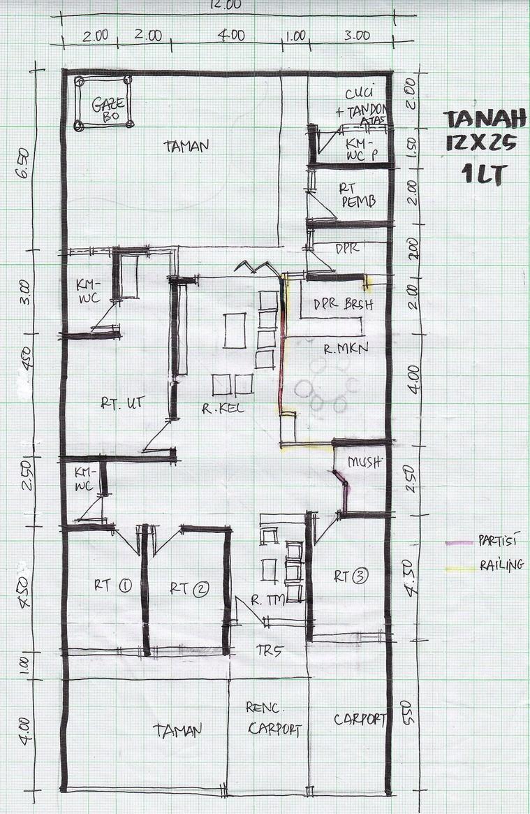gambar denah rumah lebar 8m 2