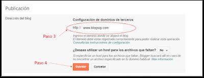 Publicando dominio en blogger