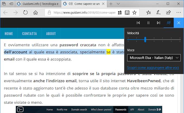 Microsoft Edge barra strumento Leggi ad alta voce
