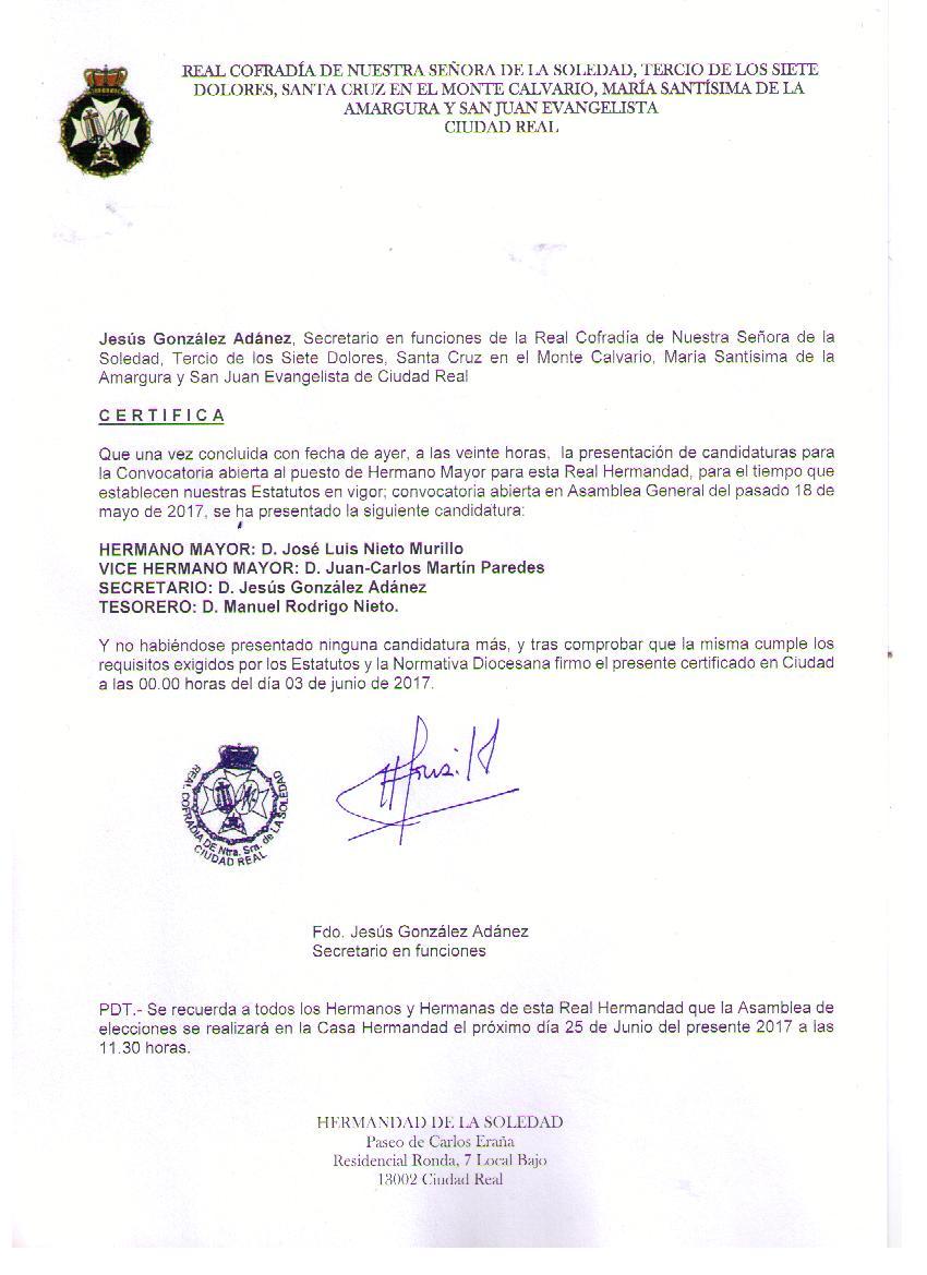 Sabados de soledad candidatura elecciones for Horario oficinas unicaja
