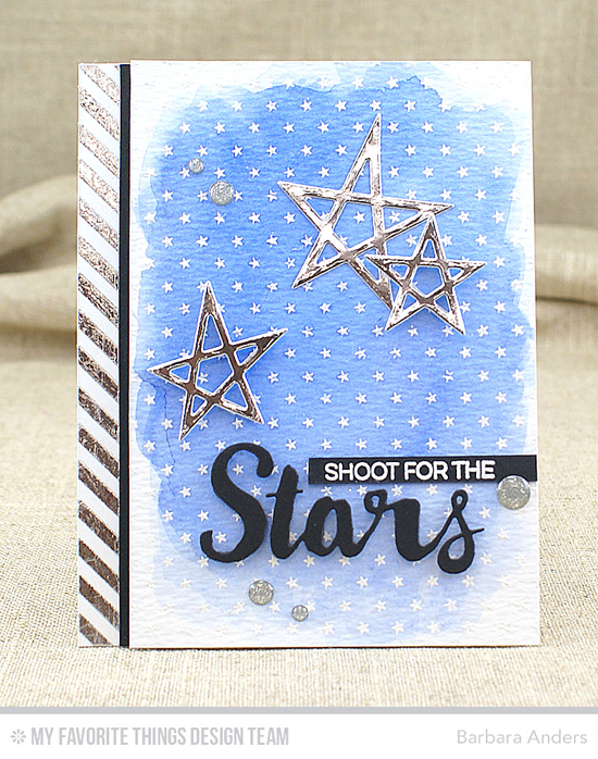Shoot for the Stars Card by Barbara Anders featuring the Laina Lamb Design Count the Stars stamp set and the Lucky Stars and Stars & Wishes Die-namics, and the Tiny Stars Background stamp #mftstamps