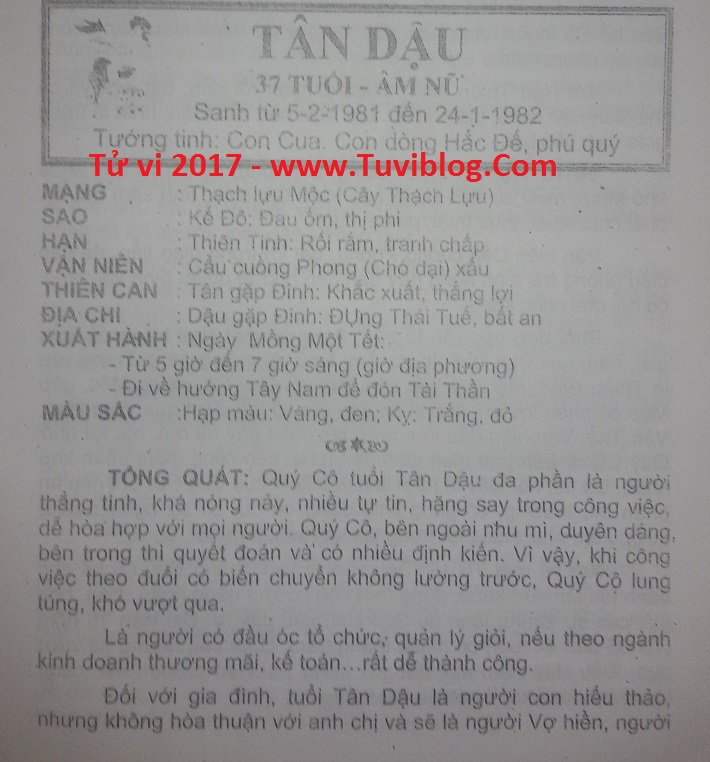 Tu vi Tan Dau 2017