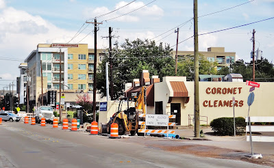 Westheimer Rd construction work at Coronet Cleaners