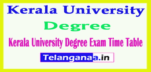 Kerala University Degree Exam Time Table 2018