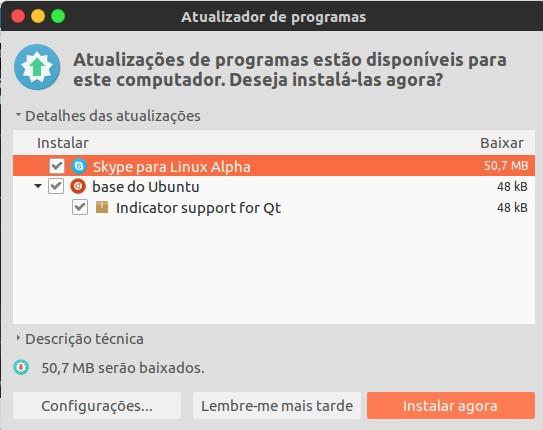 Skype para Linux, atualização