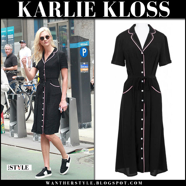 Karlie Kloss in black button down belted dress hvn model street fashoin august 25 2017