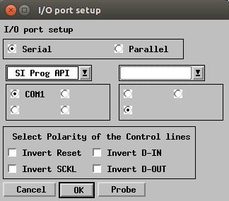 PonyProg2000 port setup dialog