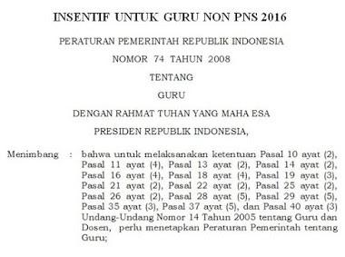 Peraturan Pemerintah No 74 Mengenai Syarat Pendapatan Tunjangan Bagi Guru Non PNS Tahun 2016