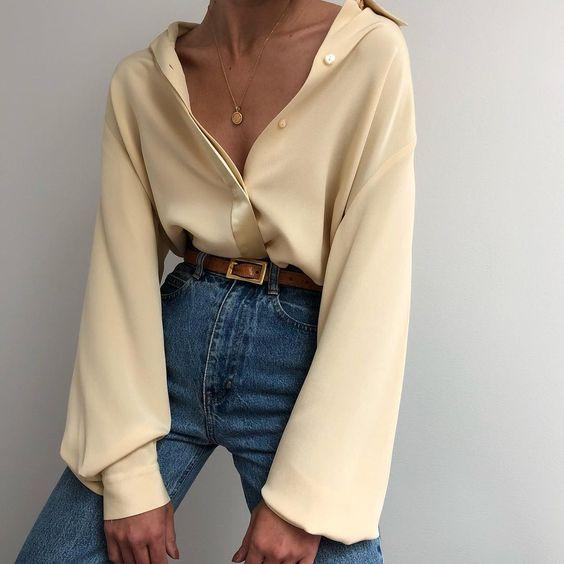 Yellow silk shirt