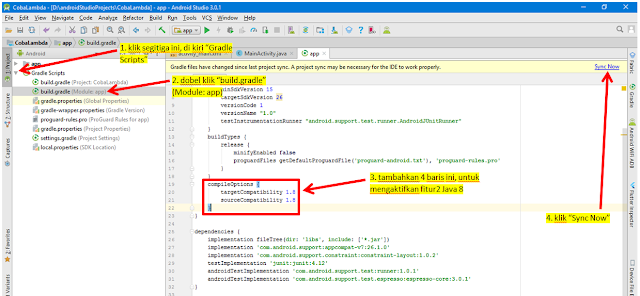 mengaktifkan lambda java 8 di android studio