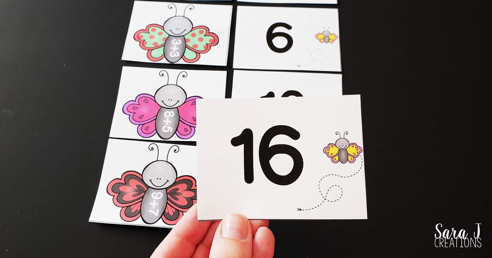 picture relating to Printable Match Games called No cost Butterfly Addition within just 20 Matching Sport Sara J