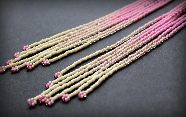 стильные длинные серьги купить бисерные серьги омбре градиент розовые