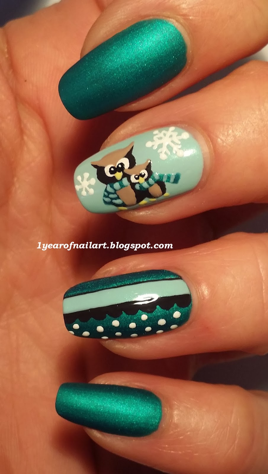 365+ days of nail art: Cute owls nail art (winter themed)