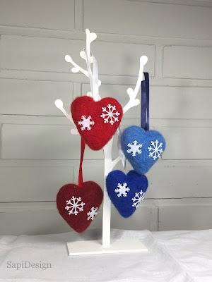 villa sydän neulahuovutettu joulu SapiDesign