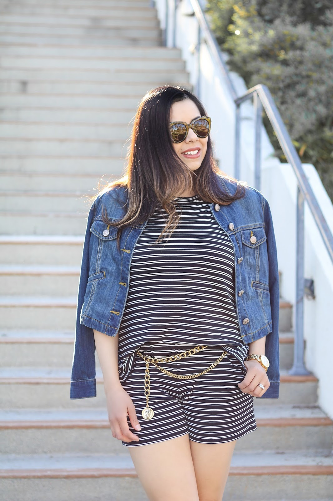 cabi denim jacket, karen walker sunglasses, striped playsuit