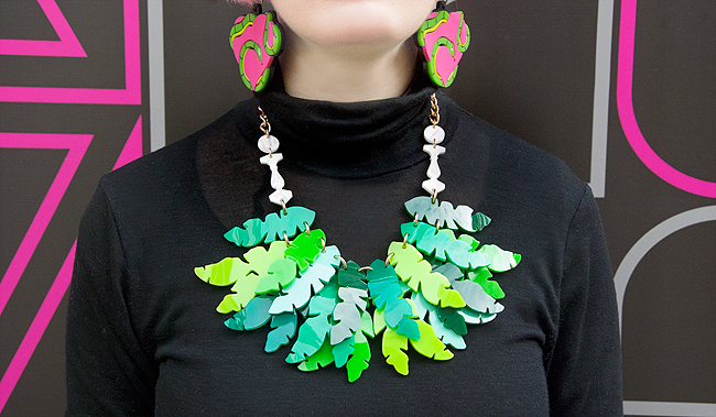 Tatty Devine, tropical look, palm leaf necklace